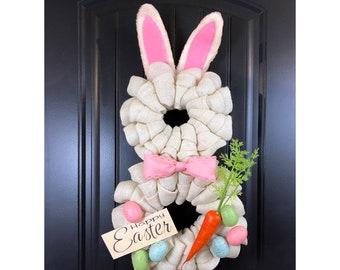THE ORIGINAL Burlap Easter Bunny Wreath Spring Burlap Wreath Spring  Springtime Happy Easter Easter Bunny Chatsworth Ranch Company f819c90d41a4