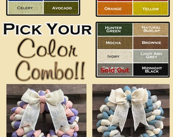 YOU PICK Your Color Combo Burlap Door Wreath Country Shabby Chic Beach  Summer Coastal Chic Modern 31a89b10b84c