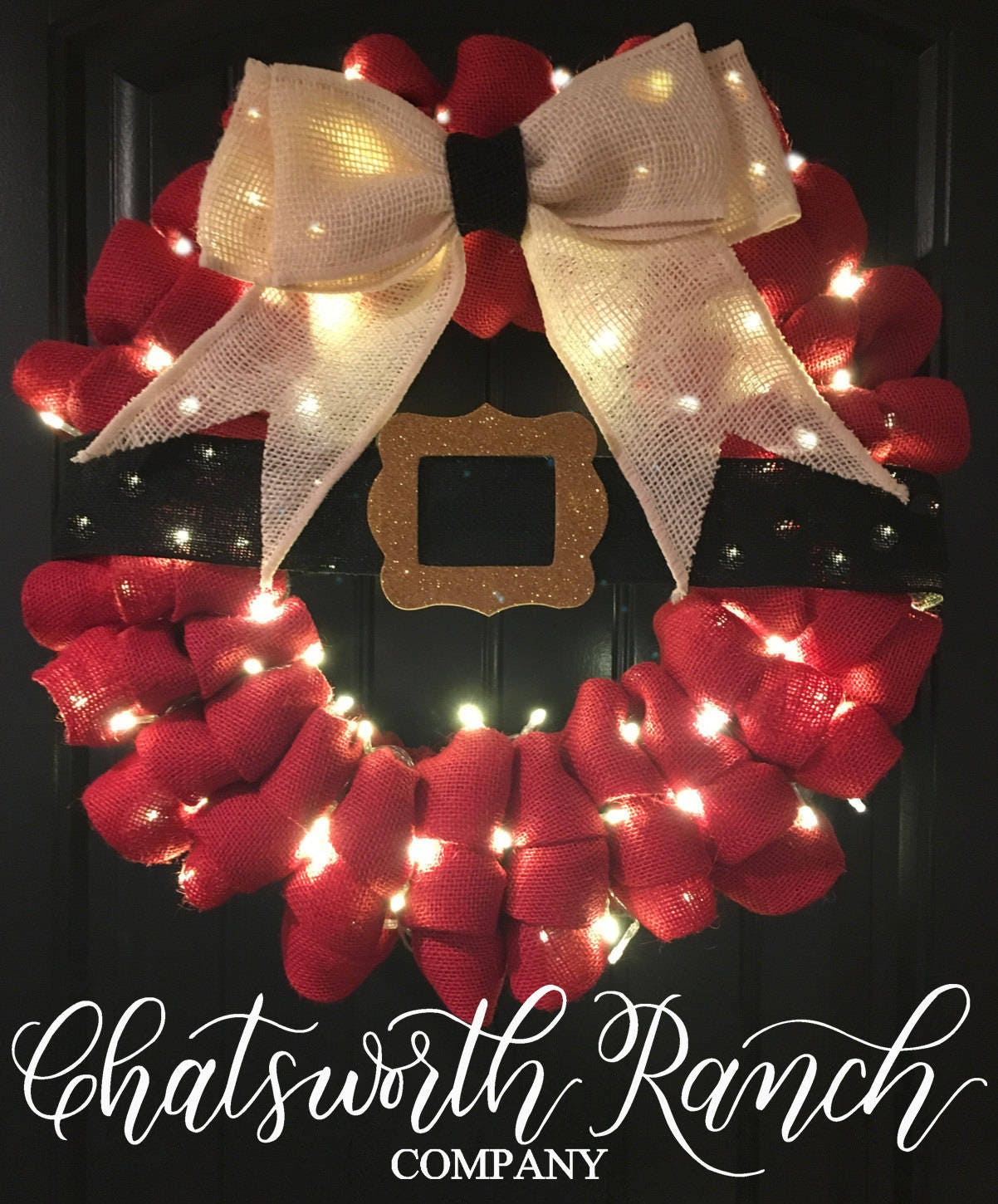 zoom - How To Decorate A Burlap Wreath For Christmas