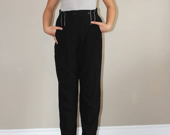 VTG 80s Black LAUREL High Rise Pure Wool Slim Fit Pants