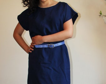 VTG 70s Simple Navy Feminine Chic Short Sleeves Dress