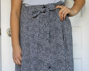 VTG 80s LOUBEN II Canada Made Black & White Polka Dot Midi Button-up Skirt