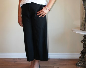 VTG 90s Black Wide Leg Culottes