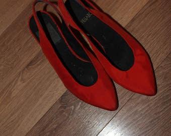 VTG 80s Bright Orange PEGABO Slingback Slip On Kitten Heels