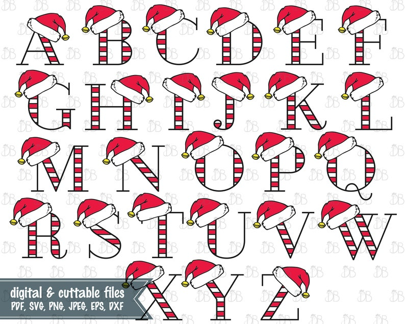 Christmas Letters.Santa Hat Capital Letters Alphabet Svg Cut File Instant Digital Download Christmas Letters Santa Hat Monogram 26 Letter Alphabet