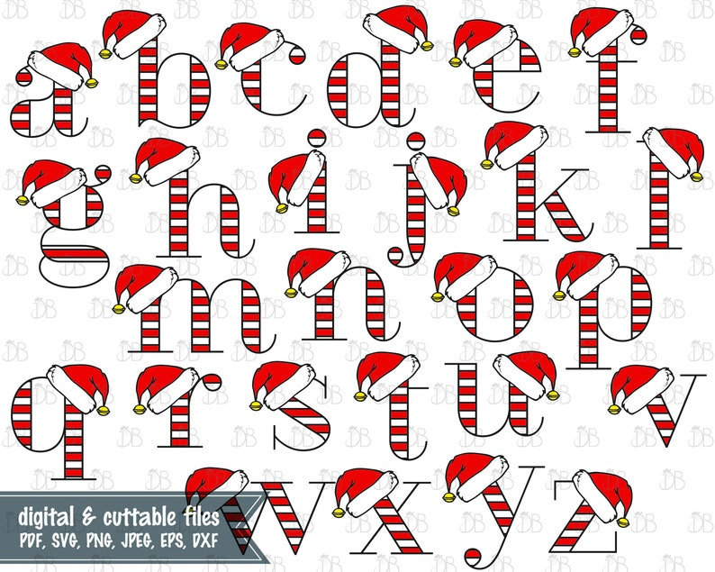 Christmas Letters.Santa Hat Lowercase Alphabet Svg Cut File Instant Digital Download Christmas Letters Santa Hat Monogram Full 26 Letter Alphabet