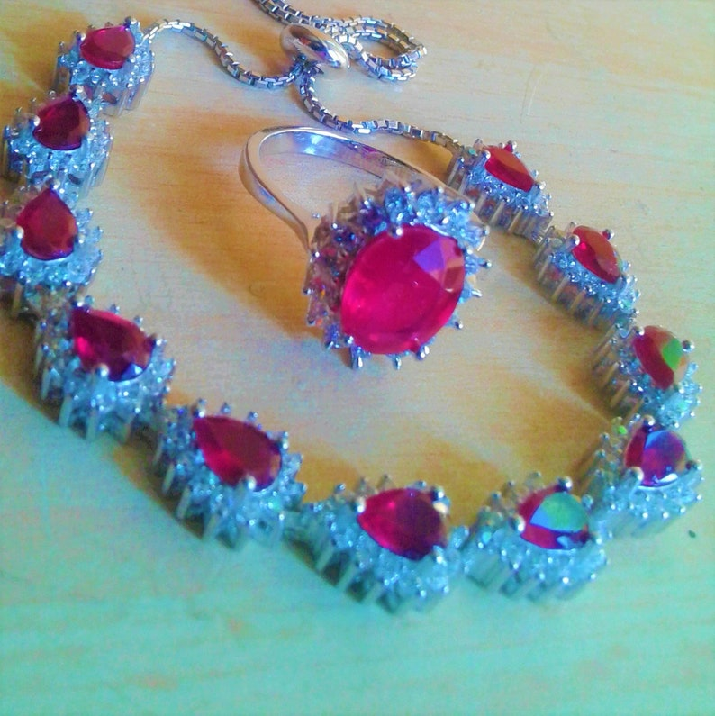 natural ruby 925 silver sterling bracelet and ring size 9