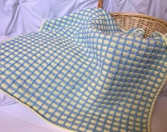 Häkeln Baby Tunesischen Häkeln Baby Decke Gelbe Babydecke Etsy