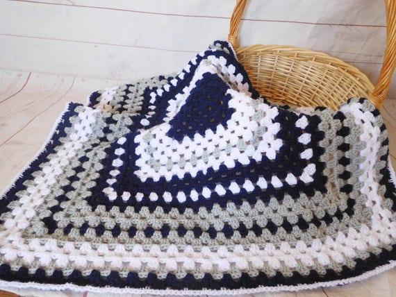 Crochet Baby Blanket Navy Gray And White Granny Square Baby Etsy