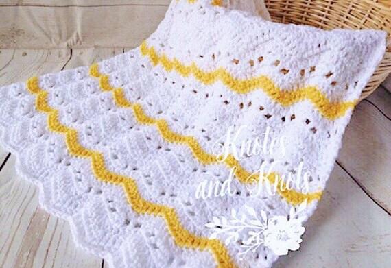 Häkeln Baby weiße und gelbe Baby-Decke geschlechtsneutrale | Etsy