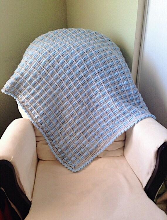 Häkeln Baby Decke Blau Und Grau Gehäkelte Decke Tunesischen Etsy