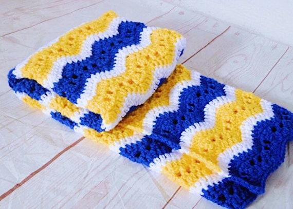 Häkeln Baby-Decke blau und gelb Decke stricken Afghan | Etsy