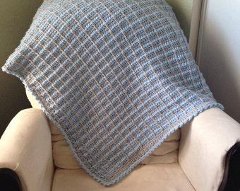 crochet baby blanket - blue and gray crochet blanket- tunisian crochet baby blanket- baby boy Nursery decor, baby Shower gift