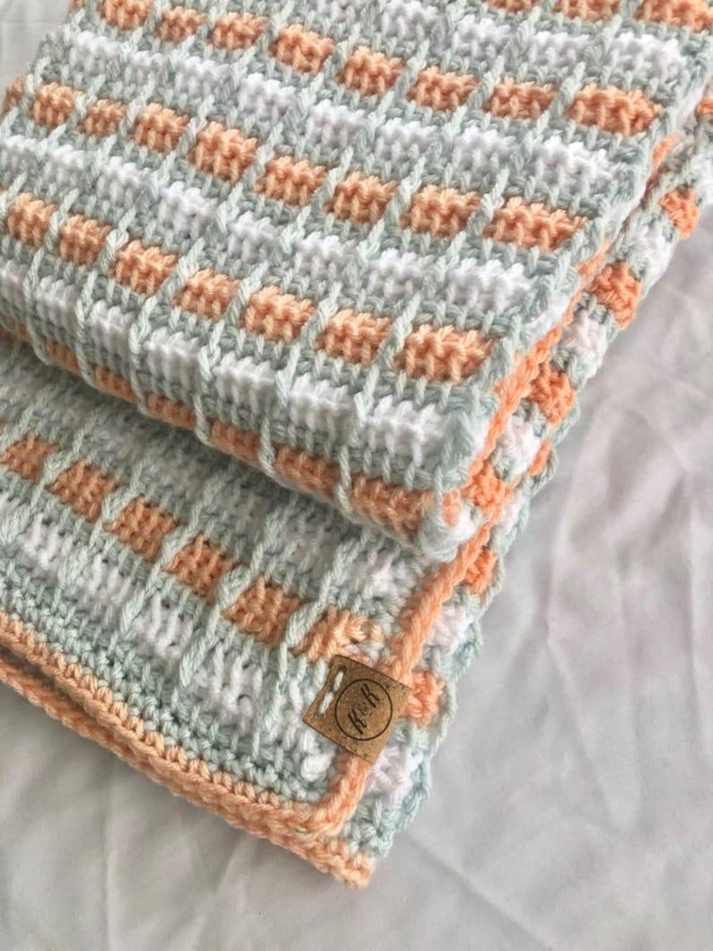 Crochet Baby Blanket Peach Light Blue Green And White Etsy