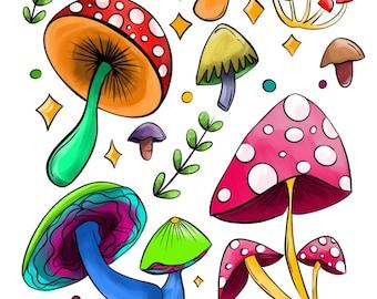 Forest Mushroom Sticker Sheet / Mushroom Stickers / Sticker for Planners / Stickers for Journaling / Bullet Journal Sticker /