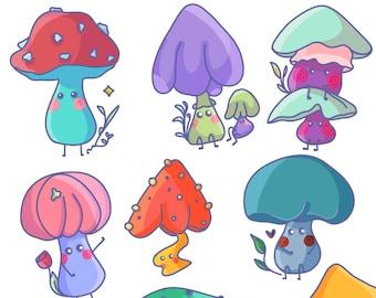 Mushroom Friends Sticker Sheet / Mushroom Sticker Pack / Cute Sticker/ Stickers for Planners / Bullet Journal Sticker
