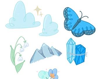 Blue Sticker Sheet / Blue Sticker Pack / Cute Sticker Pack / Sticker for Planners / Stickers for Journaling / Bullet Journal Sticker /
