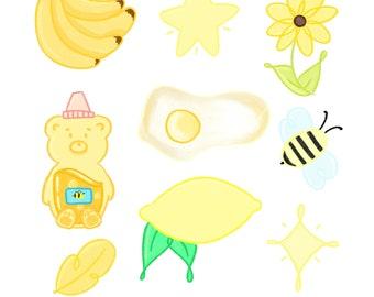 Yellow Sticker Sheet / Yellow Sticker Pack / Cute Sticker Pack / Sticker for Planners / Stickers for Journaling / Bullet Journal Sticker /