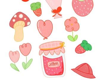 Red Sticker Sheet / Red Sticker Pack / Cute Sticker Pack / Sticker for Planners / Stickers for Journaling / Bullet Journal Sticker /
