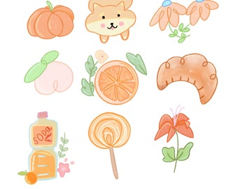 Orange Sticker Sheet / Orange Sticker Pack / Cute Sticker Pack / Sticker for Planners / Stickers for Journaling / Bullet Journal Sticker /