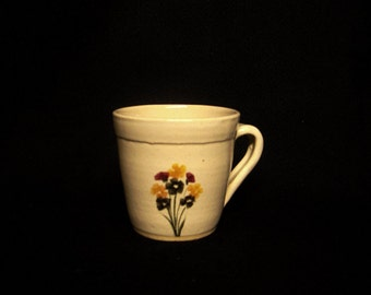 Mug, cream color with Autumn flowers, stoneware pottery, 4 1/4 X 3 1/2 inches