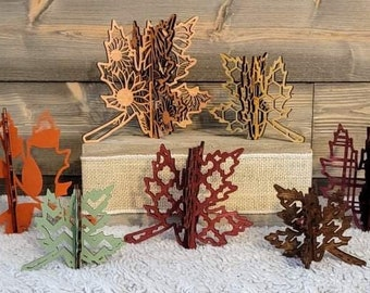 """3D Patterned Standing Leaves - Set of 7 - SVG Digital Download for Glowforge or Laser -Not a Physical Item For 1/8"""" material only"""