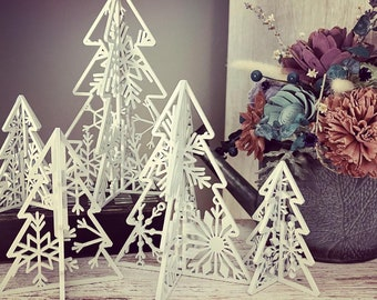 """3D Snowflake Standing Trees - Set of 5 - SVG Digital Download for Glowforge of Laser -FOR 1/8"""" MATERIAL only"""
