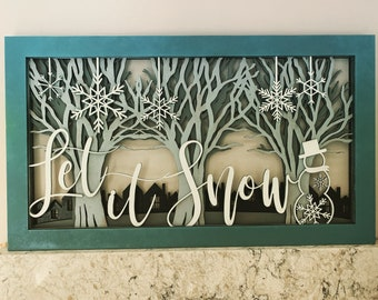 Let It Snow Shadowbox Farmhouse Picture 5 Layers