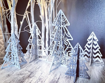 """3D Patterned Standing Trees - Set of 5 - SVG Digital Download for Glowforge or Laser -Not a Physical Item -For 1/8"""" MATERIAL ONLY"""