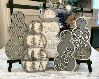 Patterned Snowmen For Easel Stands SVG Download for Glowforge -Not a physical Product