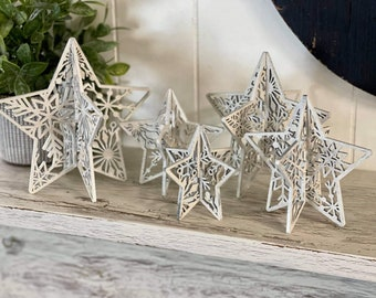 """3D Snowflake Standing Stars - Set of 5 - SVG Digital Download for Glowforge or Laser - Not a Physical Product -FOR 1/8"""" MATERIAL only"""