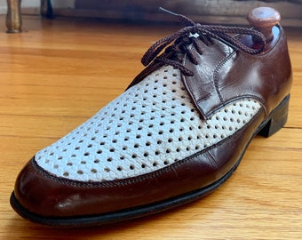 7552162757f34 Modelli Ferrara for Hudson's Bay Company 2 Tone Brown/White Woven  Ventilated Spectator Shoes 8.5D Rare EUC