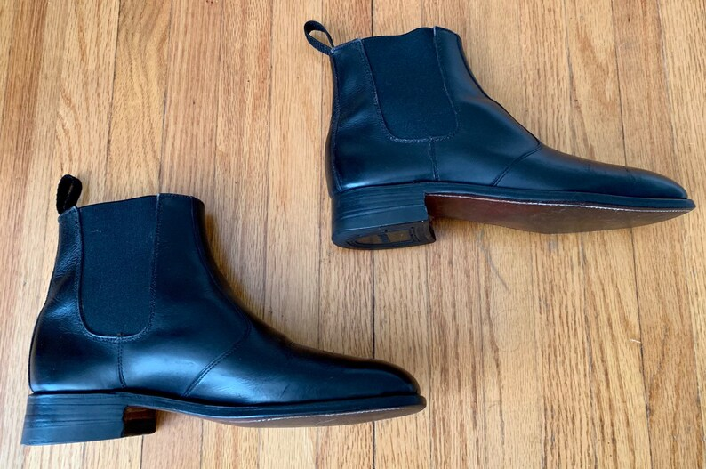 6d5afb041142a Dack's Custom Grade Exotic Imported Kangaroo Hide Black Chelsea Boots Shoes  7.5E VTG