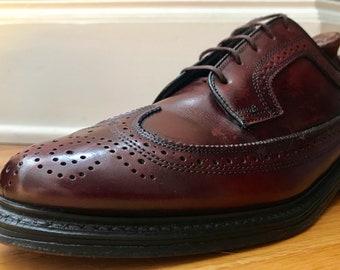 O'Sullivan Mason Smooth Calf Oxblood Wingtip Dress Shoes 10.5D EUC Made in USA