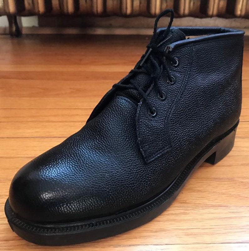 960241cec8994 HH Brown Shoe Company Black Pebbled Calf Parade Dress Combat Army Boots 7E  Deadstock, Mint