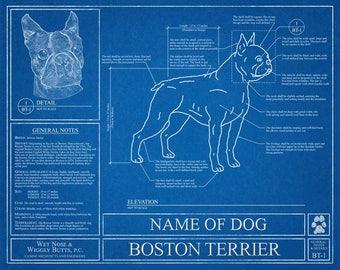 Personalized Boston Terrier Blueprint / Boston Terrier Art / Boston Terrier Wall Art / Boston Terrier Gift / Boston Terrier Print