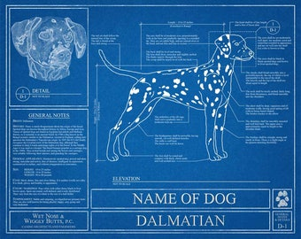 Personalized dog blueprints custom pet by wetnosewigglybutts personalized dalmatian blueprint dalmatian art dalmatian wall art dalmatian gift dalmatian print malvernweather Image collections