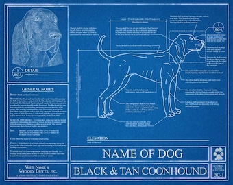Personalized dog blueprints custom pet by wetnosewigglybutts personalized black and tan coonhound blueprint black and tan coonhound art coonhound wall art coonhound gift coonhound print malvernweather Image collections