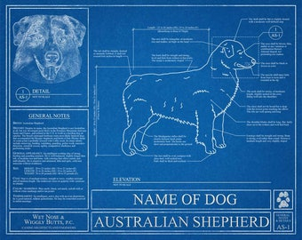 Personalized dog blueprints custom pet by wetnosewigglybutts personalized miniature american shepherd blueprint american shepherd art american shepherd wall art american shepherd gift print malvernweather Image collections
