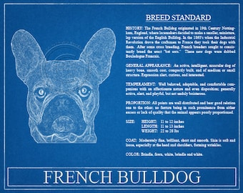 Personalized dog blueprints custom pet by wetnosewigglybutts french bulldog portrait french bulldog art french bulldog wall art french bulldog print french bulldog gift malvernweather Gallery
