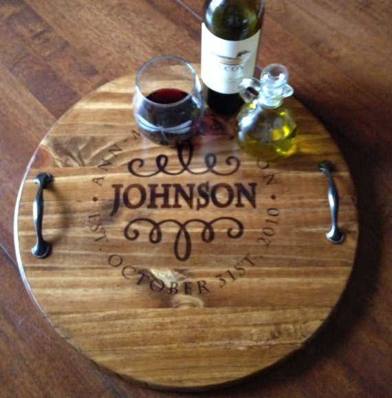 Homemade Wedding Food: Items Similar To Wine Barrel Tray, Wooden Serving Tray