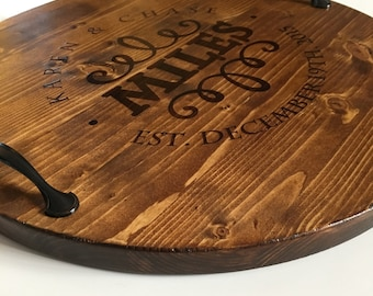 Personalized Serving Tray Wine Barrel Tray Personalized Wood Tray Custom Serving Tray Rustic Tray Wedding Gifts Anniversary Gifts