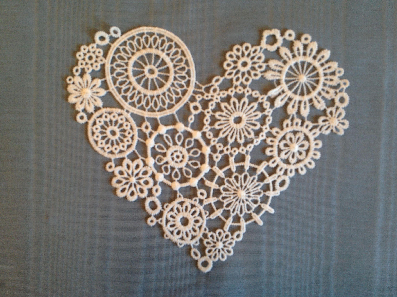 Heart doily applique white heart doily 8 wedding table etsy