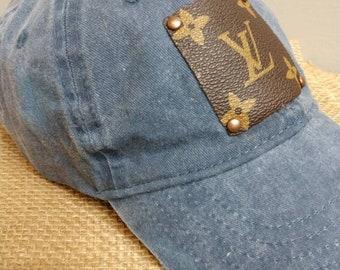 bf29eb078cd9e Distressed faded blue jean repurposed Louis Vuitton baseball cap. LV cap