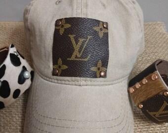 5b008b2b201a4 Repurposed Louis Vuitton khaki low profile baseball hat. LV hat