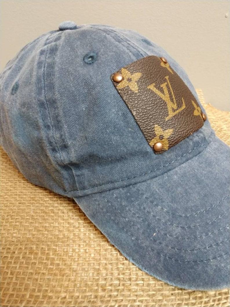 3e2023b6 Distressed faded blue jean repurposed Louis Vuitton baseball | Etsy