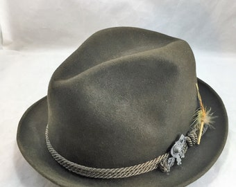 db91b871a1aa14 Vintage Champ Traveler Fedora Olive Green with Coordinated Cord Hat Band  Feather Trim and Tyrolean Style Adornment Size Medium 02008