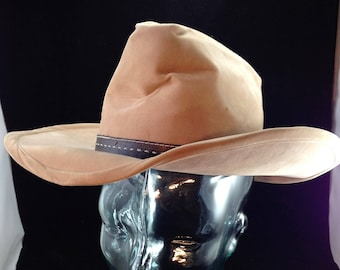 Vintage Bailey U-Rollit Cowboy Hat Beige Velour with Brown Stitched Leather  Buckle Hatband Size 6 7 8 01715 55eff2985e6e
