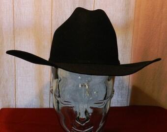 173519d6da0 Vintage Bailey Pro 5 X Beaver Black Cowboy Hat with Silver Buckle Hat Band  Size 7 1 8 00652