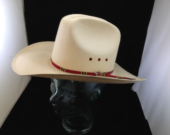 a1f8c012c12cf Vintage Stetson 8X Corral West Straw Cowboy Hat size 7 02636